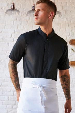 Bargear Hommes Manches Courtes Chemise Bar Shirt Noir Business gasronomie Serveur